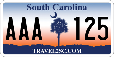 SC license plate AAA125
