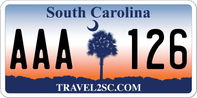 SC license plate AAA126