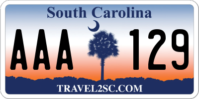SC license plate AAA129