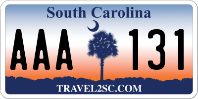 SC license plate AAA131