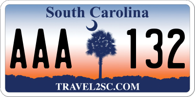 SC license plate AAA132