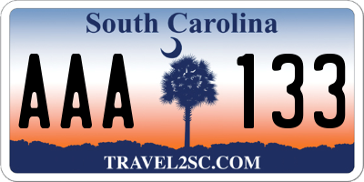 SC license plate AAA133