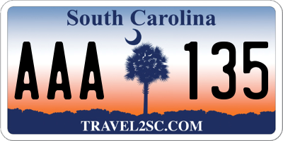 SC license plate AAA135