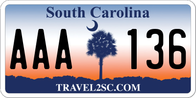SC license plate AAA136