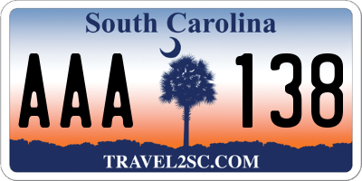 SC license plate AAA138
