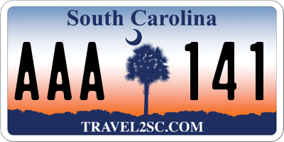 SC license plate AAA141