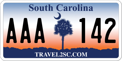 SC license plate AAA142