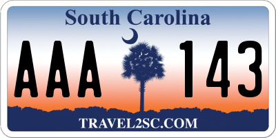 SC license plate AAA143
