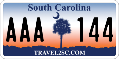 SC license plate AAA144