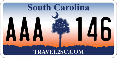 SC license plate AAA146