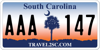 SC license plate AAA147