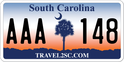 SC license plate AAA148