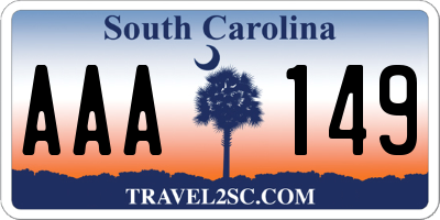 SC license plate AAA149