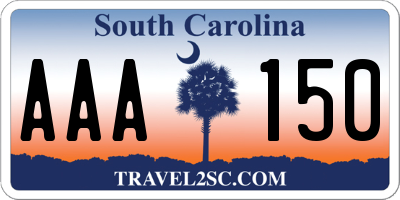 SC license plate AAA150