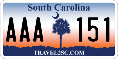 SC license plate AAA151