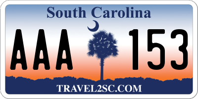 SC license plate AAA153