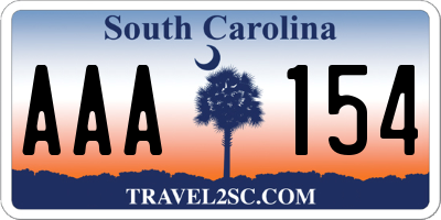 SC license plate AAA154