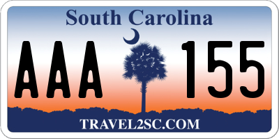 SC license plate AAA155
