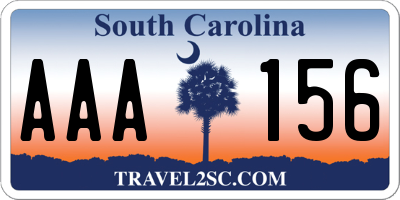 SC license plate AAA156