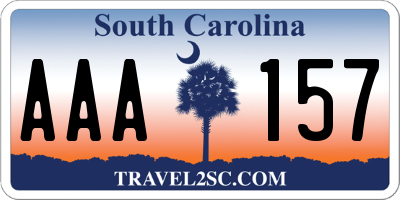 SC license plate AAA157