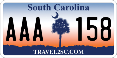 SC license plate AAA158