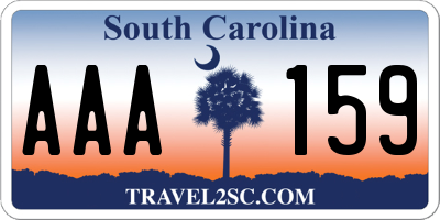 SC license plate AAA159