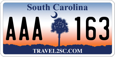 SC license plate AAA163