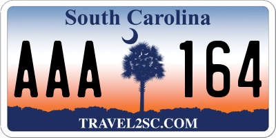 SC license plate AAA164