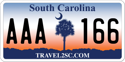 SC license plate AAA166