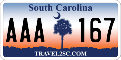 SC license plate AAA167