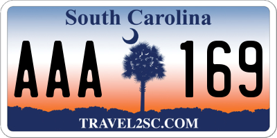SC license plate AAA169