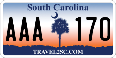 SC license plate AAA170