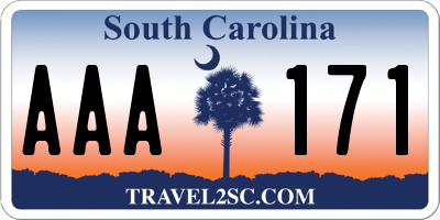 SC license plate AAA171