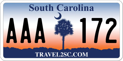 SC license plate AAA172