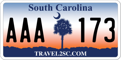 SC license plate AAA173