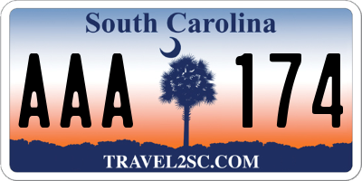 SC license plate AAA174