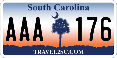 SC license plate AAA176