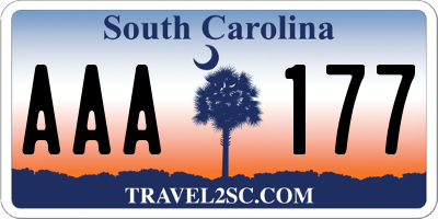 SC license plate AAA177