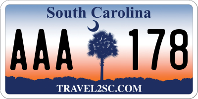 SC license plate AAA178