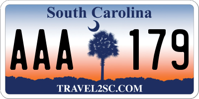 SC license plate AAA179