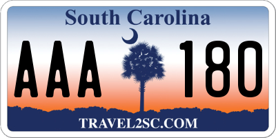 SC license plate AAA180