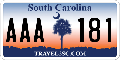 SC license plate AAA181