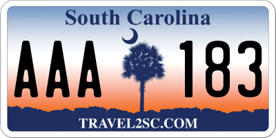 SC license plate AAA183