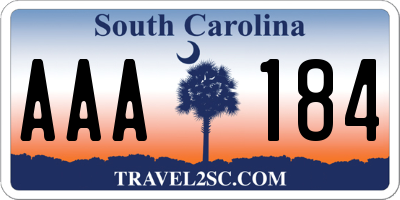 SC license plate AAA184