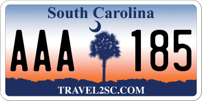 SC license plate AAA185
