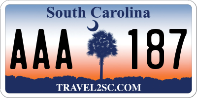 SC license plate AAA187