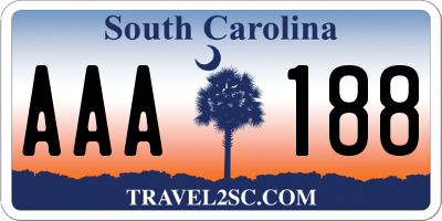 SC license plate AAA188