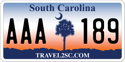 SC license plate AAA189