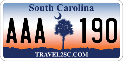 SC license plate AAA190