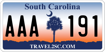 SC license plate AAA191